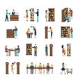 People In Library Icon Set vector image