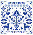 retro cross-stitch seamless pattern vector image