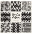 Seamless Hand Drawn Lines Patterns vector image vector image