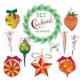Set Christmas and New Year vintage holiday vector image