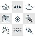 set of 9 christmas icons includes butterfly knot vector image vector image