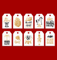 set of tags with hand written christmas phrases vector image vector image