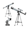 set silver optical telescopes on stand and vector image
