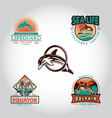 set vintage badge with dolphin drawn hand vector image