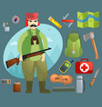 set with a hunter and inventory vector image vector image