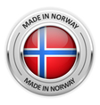 Silver medal Made in Norway with flag vector image vector image