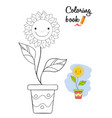 smiling flower in a pot coloring book page vector image vector image