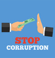stop corruption concept vector image vector image