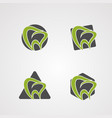 tooth shape set logo icon element and template vector image
