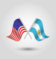 two crossed american and argentine flags vector image vector image