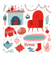 vibrant collection hygge christmas icons big vector image vector image