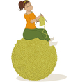 Woman knitting vector image vector image