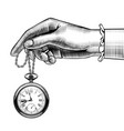 womans hand with a retro pocket watch vector image vector image
