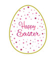 beautiful golden outline easter egg with pink dots vector image