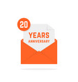 20 years anniversary icon in orange letter vector image vector image