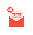 60 years anniversary missive in red envelope vector image vector image
