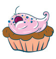 a beautiful cupcake brown and pink in color or vector image vector image