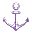 Anchor icon Nautical isolated white purple vector image vector image