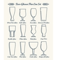 beer glassware line icons vector image vector image
