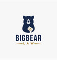 big bear holding law book logo icon template vector image