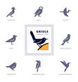 birds icon set for sign our company vector image