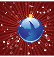 Blue Christmas ball on red background vector image vector image