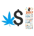 Cannabis Business Icon With 2017 Year Bonus vector image