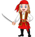 cartoon pirate girl holding a sword vector image vector image
