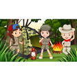 Children camping in the deep forest vector image vector image