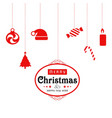 christmas card with icons and typography red vector image