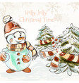 christmas outdoor with pretty little snowman vector image
