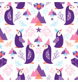 colorful penguins in santa hats seamless pattern vector image vector image