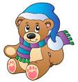 cute teddy bear in winter clothes vector image vector image