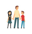dad son and daughter holding hands father and vector image vector image