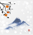 date plum tree and far blue mountains on white vector image