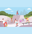 extreme park outdoor activities skateboarders vector image vector image