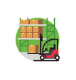forklift truck work in warehouse vector image