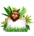 funny brown lion with blank sign vector image vector image