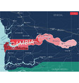 gambia country detailed editable map vector image vector image