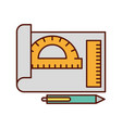 graphic design sheet protractor ruler and pen vector image