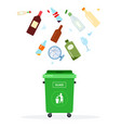 green trash can for glass waste flat isolated vector image vector image