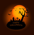 halloween background with silhouettes of graveyard vector image vector image
