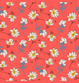 hand drawn flowers bright colors seamless vector image vector image
