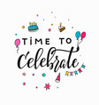 happy birthday party lettering typography vector image vector image