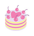 happy valentine day icon with cake vector image vector image