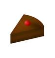 isometric chocolate cake slice vector image vector image