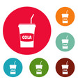 juice icons circle set vector image