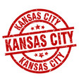 kansas city red round grunge stamp vector image vector image