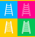 ladder sign four styles of icon on vector image