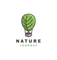 leaf nature air balloon logo icon template vector image